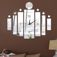 diy 3d modern crystal mirror quartz clock wall sticker luxury wall