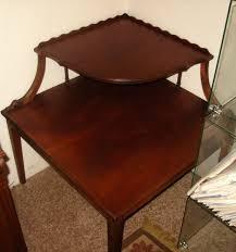 pie crust end table vintage corner table pie crust border 2 tier solid mahogany wood