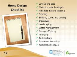 Home Building Design Checklist Green 200 The Science Of Green Building Course Goals Green