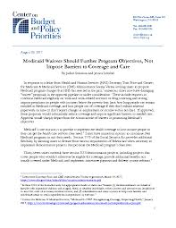 medicaid waivers should further program objectives not impose