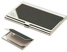 monogrammed carbon fiber business card holder personalized
