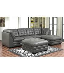 Leather Top Ottoman Sectionals Top Grain Leather Sectional With Ottoman