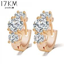 earrings design 17km new design hot fashion luxury gold color zircon