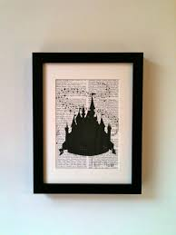 disney cinderella fairy castle inspired this linocut print would
