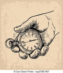clipart vector of male hand holding antique pocket watch hold hand