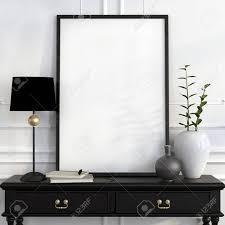 mock up poster on the black desk with a black lamp white vase