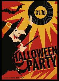 halloween witch party poster vector download