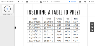 how to copy table from pdf to excel insert a table to prezi classic prezibase