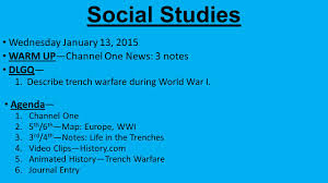 World War 1 Map Of Europe Social Studies Wednesday January 13 2015 Warm Up U2014channel One News