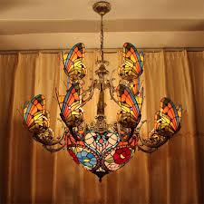 Stained Glass Light Fixtures Creative Stained Glass Led Pendant Light American Tiffany