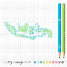 indonesia map sketch with color pencils on grid paper stock vector