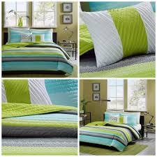 Coverlet Bedding Sets Girls Twin Size Coverlet Quilt Set Teal Blue Green Striped Bedding