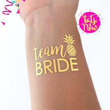 team bride pineapple tattoo gold temporary tattoos super fun
