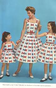 1950s matching mother daughter dresses 50s red blue bow