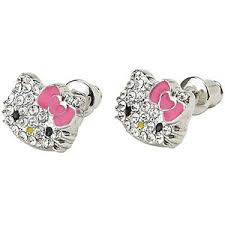 hello earrings shop sanrio hello rhinestone stud earrings polyvore