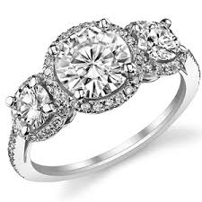 brilliant 3 halo moissanite engagement rin - 3 Halo Engagement Rings