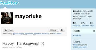 happy thanksgiving says mayorluke in boring pittsburgh
