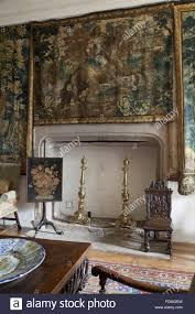 the fireplace in the old dining room at cotehele cornwall