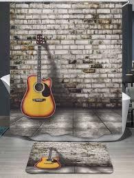 Shower Bath Mat Brick Wall Guitar Shower Curtain And Bath Mat Gray In Shower