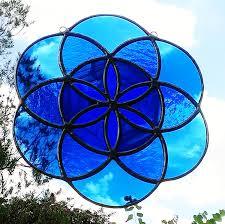 blue seed seed of life sacred geometry blue mandala stained glass