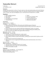 Food Server Resume Examples by Waiter Resumes Bartender Resume Bartender And Waiter Cv Beispiel