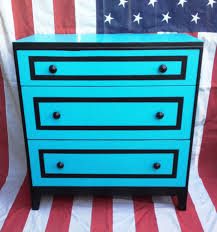 bedroom turquoise nightstand with black list and drawers for home