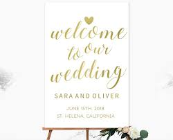 wedding welcome sign template calligraphy gold vertical wedding welcome sign template