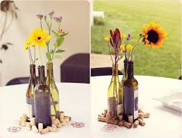 wine bottle wedding centerpieces wine bottle vases and corks make a really and simple