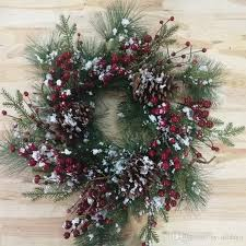 22 frosted pine needles pinecone berry wreath