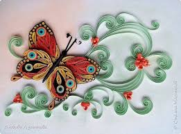 butterfly and flowers quilled by name on photo quilling