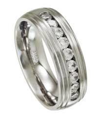 mens stainless steel wedding bands stainless steel wedding band satin finish with grooved edges