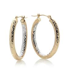 gold hoops earrings michael anthony jewelry 2 tone 10k gold diamond cut oval hoop