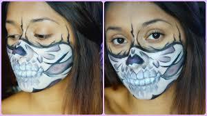 half face skull mask halloween make up tutorial youtube