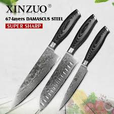 high carbon kitchen knives xinzuo 3pcs kitchen knives set 67 layers high carbon damascus