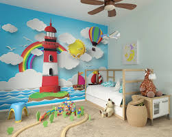 childrens wallpaper murals by ohpopsi alice in wonderland rainbow lighthouse wall mural