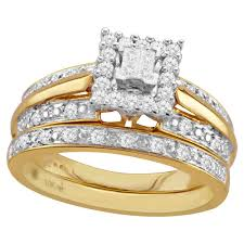 10k gold wedding ring sets forever 1 3 cttw and 10k yellow gold bridal set 298