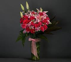 Red Carnations Nightingale Red Carnations Lilies And Gladiolus Vase Arrangement