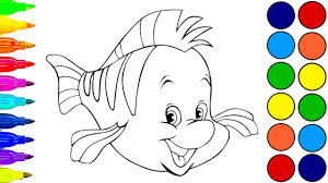 the little mermaid flounder coloring book for children learn
