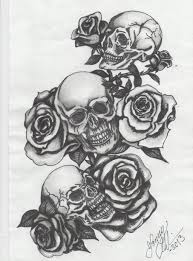 three skulls with roses by blue on deviantart