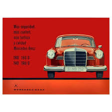 objet vintage americain original u0027mercedes benz u0027 poster by hans liska for sale at 1stdibs