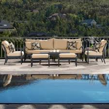 8 Piece Patio Dining Set - rst brands astoria 8 piece patio seating set with delano beige