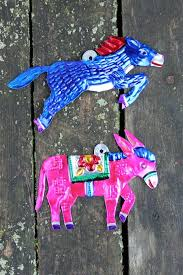 set of 2 burro mexican painted tin