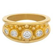 band ring betesh diamond gold granulation cigar band ring for sale at