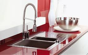 exciting white color acrylic kitchen cabinets come with red color