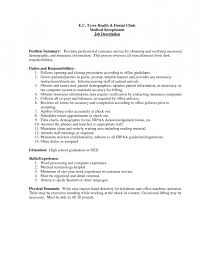 job summary for front desk and customer service resume template