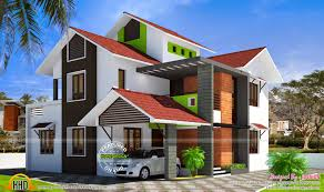 modern slope roof villa kerala home design and floor plans simple