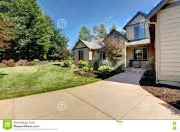 nice two story houses exterior of american two story house with concrete walkway stock