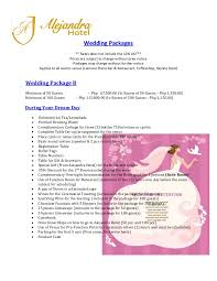Wedding Packages Prices Alejandra Hotel