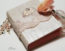 Vintage Wedding Album Vintage Wedding Guest Book Aqua Teal Light Pink Gold Photo