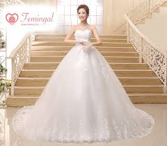 2016 korean high waist long white bow tail wedding dress femingal